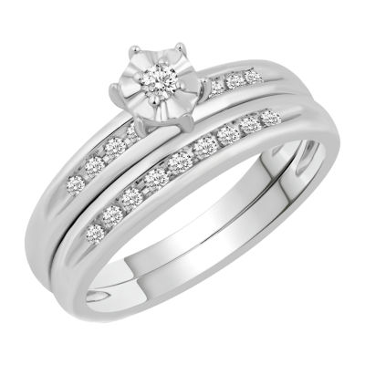 Womens 1/5 CT. T.W. Genuine Diamond 10K White Gold Bridal Set