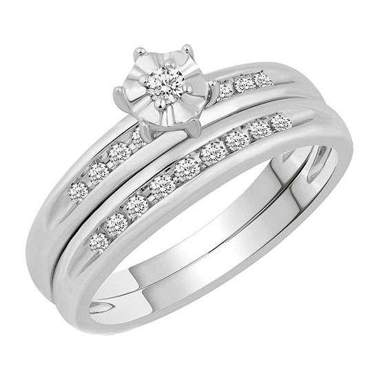 Womens 1/5 CT. T.W. Genuine Diamond 10K White Gold Bridal Set