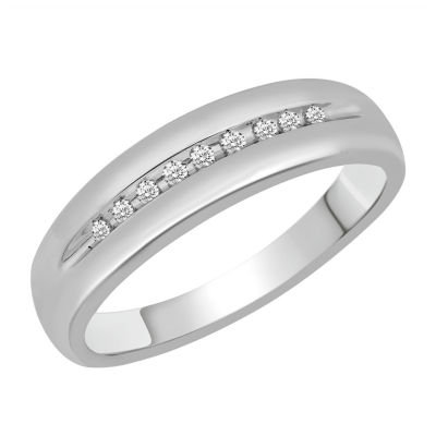 Mens 1/10 CT. T.W. Genuine Diamond 10K White Gold Band