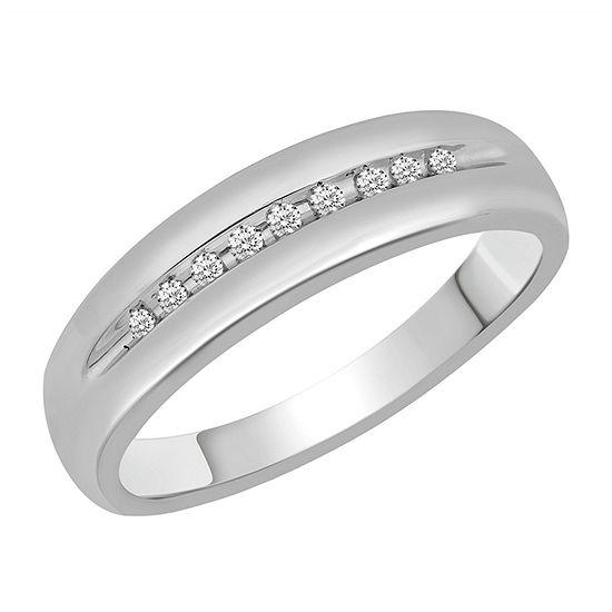 Mens 1/10 CT. T.W. Genuine Diamond 10K White Gold Ring Sets