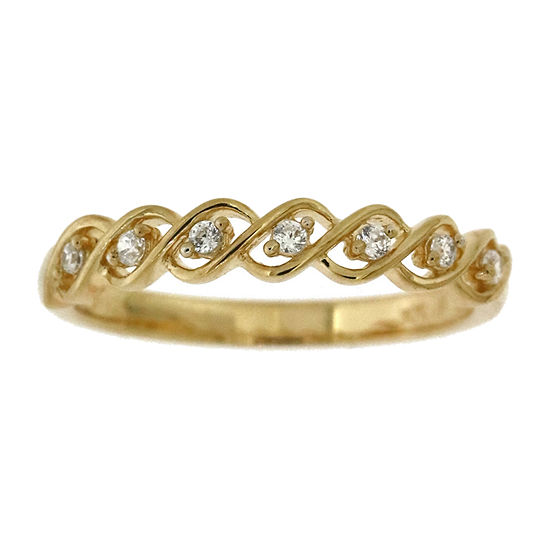 Womens 1/10 CT. T.W. Genuine Diamond 14K Gold Cocktail Ring