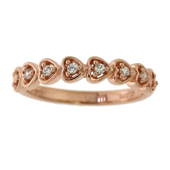 Womens 1/10 CT. T.W. Genuine Diamond 10K Rose Gold Over Silver Cocktail Ring