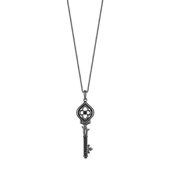 Enchanted Disney Fine Jewelry Villains Womens 1/10 CT. T.W. Genuine Black Diamond Sterling Silver Keys Maleficent Pendant Necklace