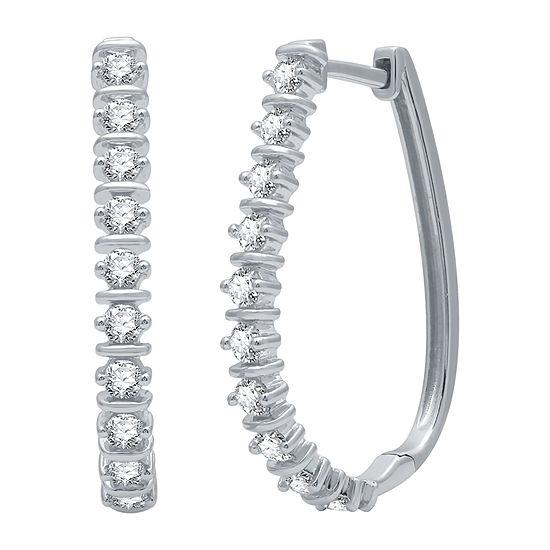 1 CT. T.W. Genuine Diamond Sterling Silver 27.8mm Hoop Earrings
