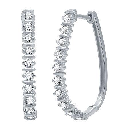 1 CT. T.W. Genuine Diamond Sterling Silver 27.8mm Hoop Earrings, One Size