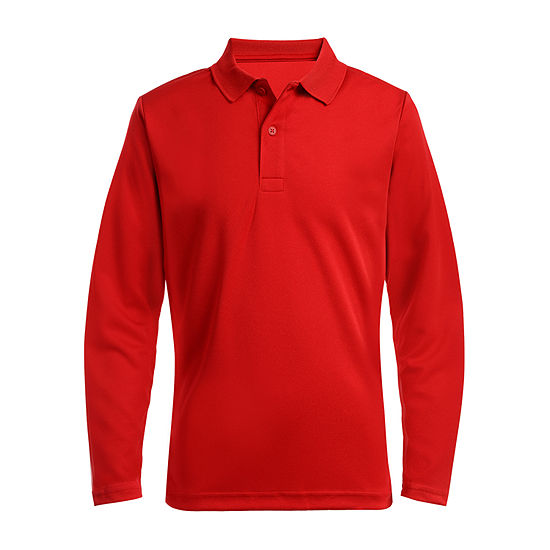 Izod Exclusive Boys Long Sleeve Moisture Wicking Polo Shirt Preschool / Big Kid