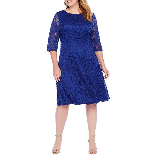 Studio 1-Plus 3/4 Sleeve Floral Lace Fit & Flare Dress