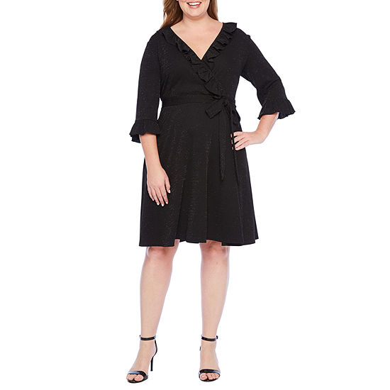 Danny & Nicole 3/4 Sleeve Wrap Dress - Plus