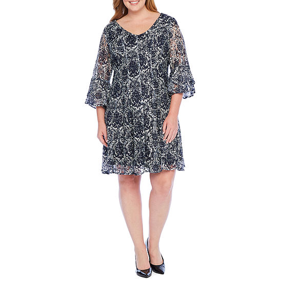 Danny & Nicole 3/4 Sleeve Floral Fit & Flare Dress - Plus