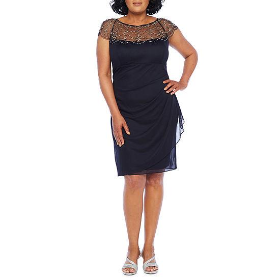 DJ Jaz Short Sleeve Embellished Sheath Dress-Plus