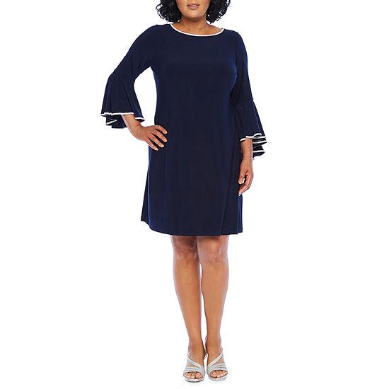 MSK 3/4 Bell Sleeve Embellished Shift Dress-Plus