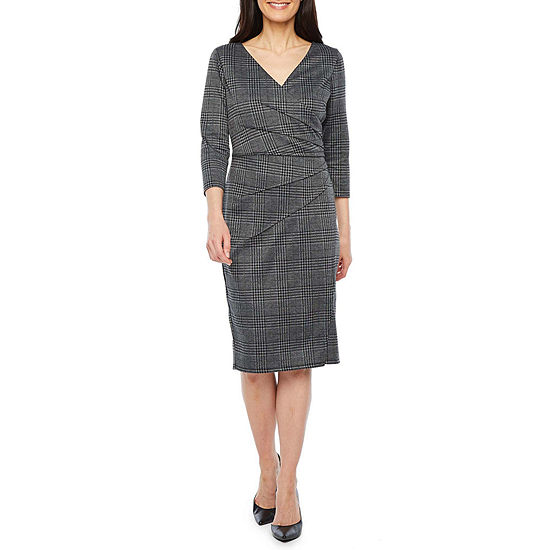 London Times 3/4 Sleeve Plaid Sheath Dress-Petite