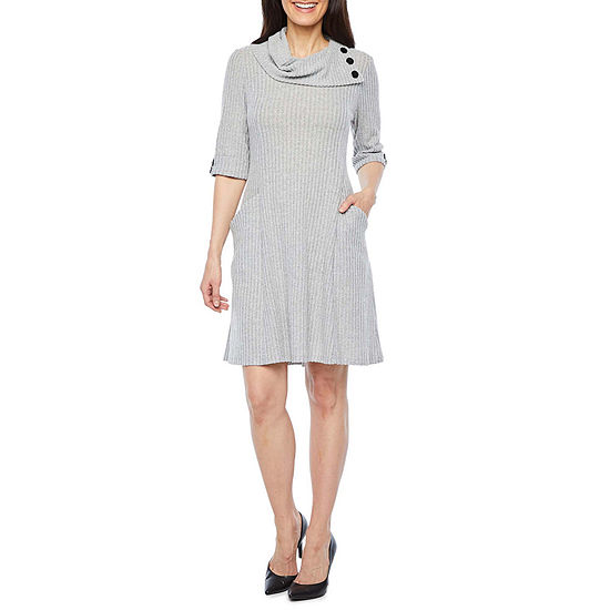 Robbie Bee 3/4 Sleeve Fit & Flare Dress-Petite