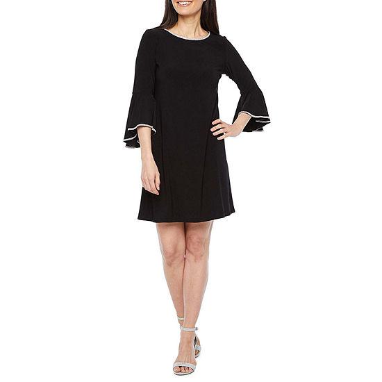 MSK-Petite 3/4 Sleeve Embellished Shift Dress