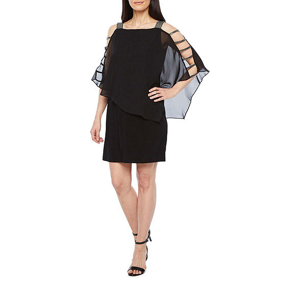 MSK 3/4 Sleeve Embellished Popover Sheath Dress-Petite