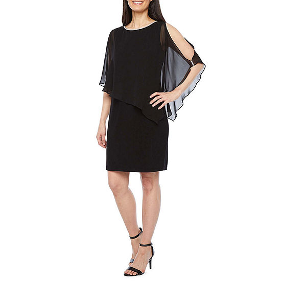 MSK 3/4 Split Sleeve Embellished Cape Sheath Dress-Petite