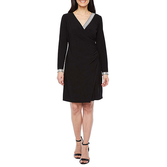 MSK-Petite Long Sleeve Embellished Sheath Dress