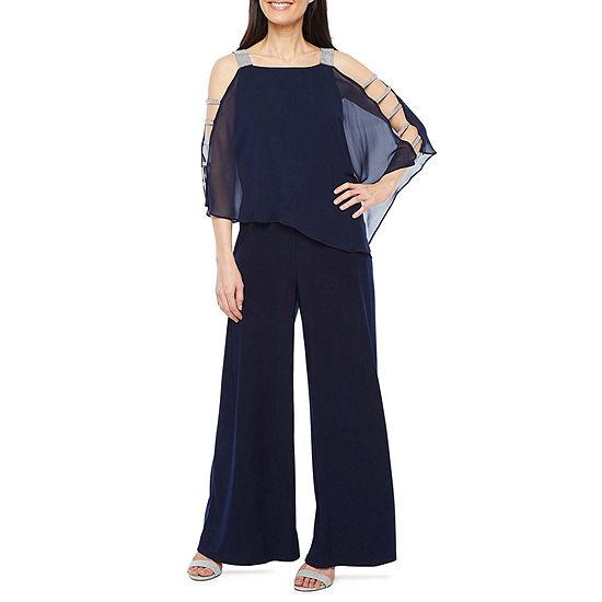 MSK 3/4 Embellished Sleeve Cape Jumpsuit-Petite