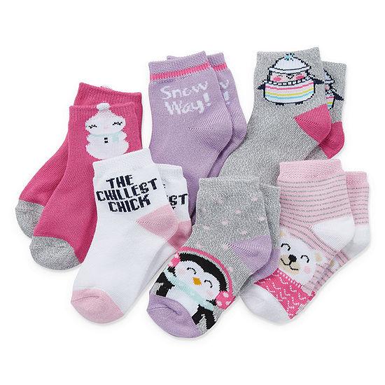 Okie Dokie Toddler Girls 6 Pair Low Cut Socks