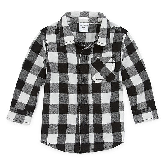 Okie Dokie Boys Long Sleeve Button-Front Shirt Baby