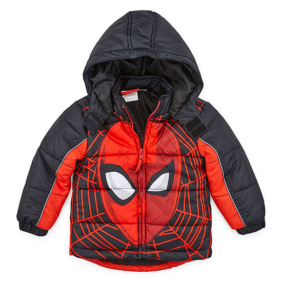Boys Outerwear - Boys Spiderman Hooded Heavyweight Puffer Jacket-Toddler