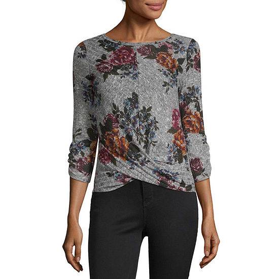 by&by Womens Round Neck 3/4 Sleeve Blouse-Juniors