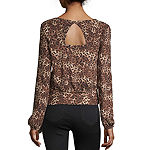 by&by Womens Round Neck Long Sleeve Knit Blouse-Juniors