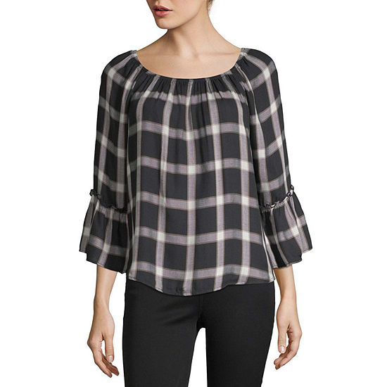 by&by-Juniors Womens Round Neck 3/4 Sleeve Blouse
