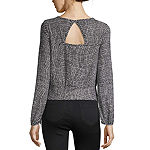 by&by-Juniors Womens Scoop Neck Long Sleeve Knit Blouse