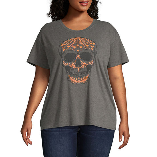 City Streets-Womens Crew Neck Short Sleeve T-Shirt Juniors