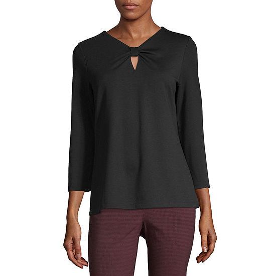 Liz Claiborne Womens V Neck 3/4 Sleeve Ponte Embellished Blouse