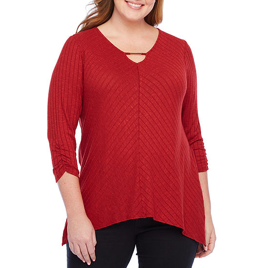 ALyx 3/4 Cinch Sleeve Bar Neck Sharkbite Top - Plus