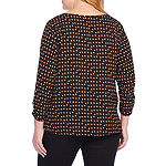 Alyx Womens 3Q Woven Blouse with Necklace - Plus