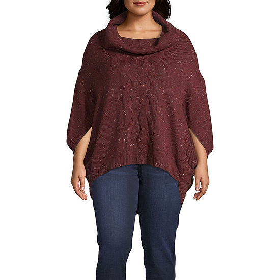 a.n.a Womens Cowl Neck 3/4 Sleeve Poncho Plus