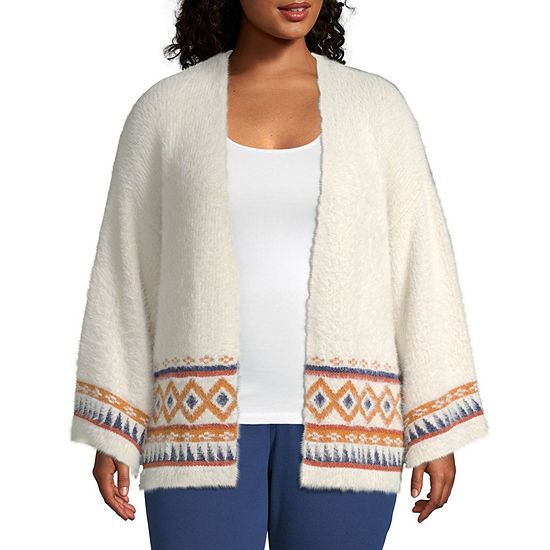 a.n.a Womens Long Sleeve Open Front Cardigan - Plus