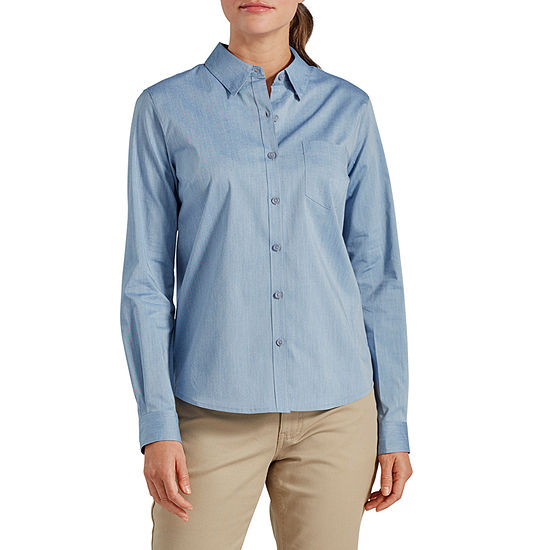 Dickies Womens Long Sleeve Button-Front Shirt