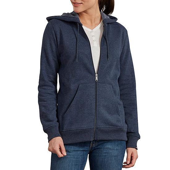 Dickies Misses Front Zip Womens Long Sleeve Sweatshirt Hoodie