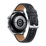 Samsung Galaxy 3 LTE Mystic Silver Smart Watch with Black Leather Band-Sm-R855uzsaxar