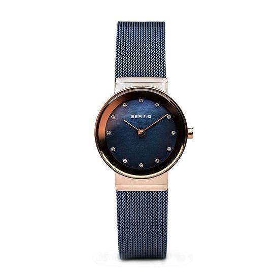 Bering Womens Blue Stainless Steel Bracelet Watch - 10126-367