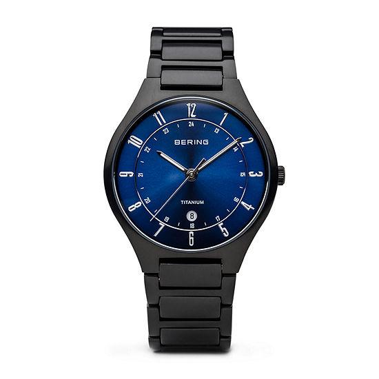 Bering Mens Black Stainless Steel Bracelet Watch-11739-727