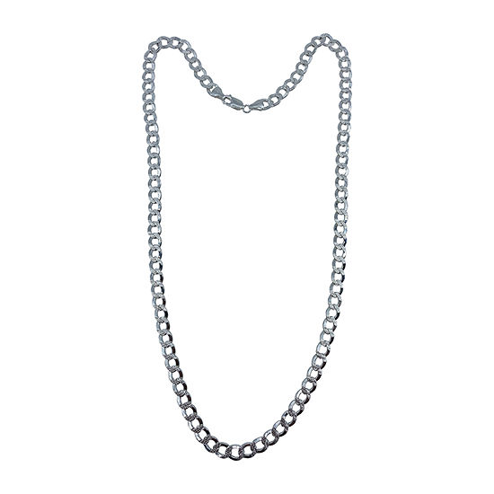 Made in Italy Sterling Silver 24 Inch Solid Curb Chain Necklace