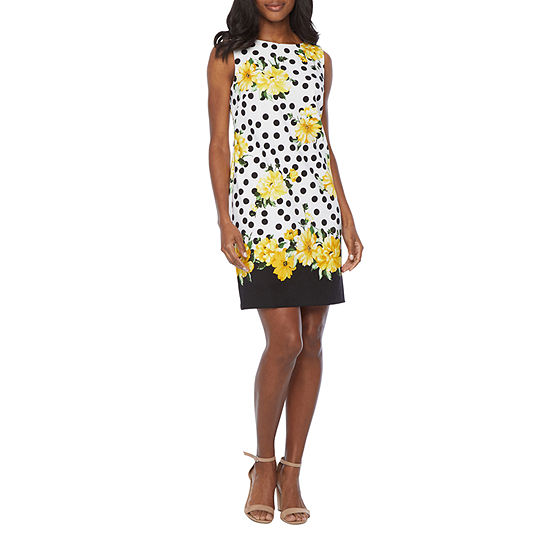 Alyx Sleeveless Floral Dots Sheath Dress