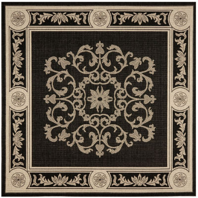 Courtyard Medallion Delight Indoor/Outdoor Square Rug