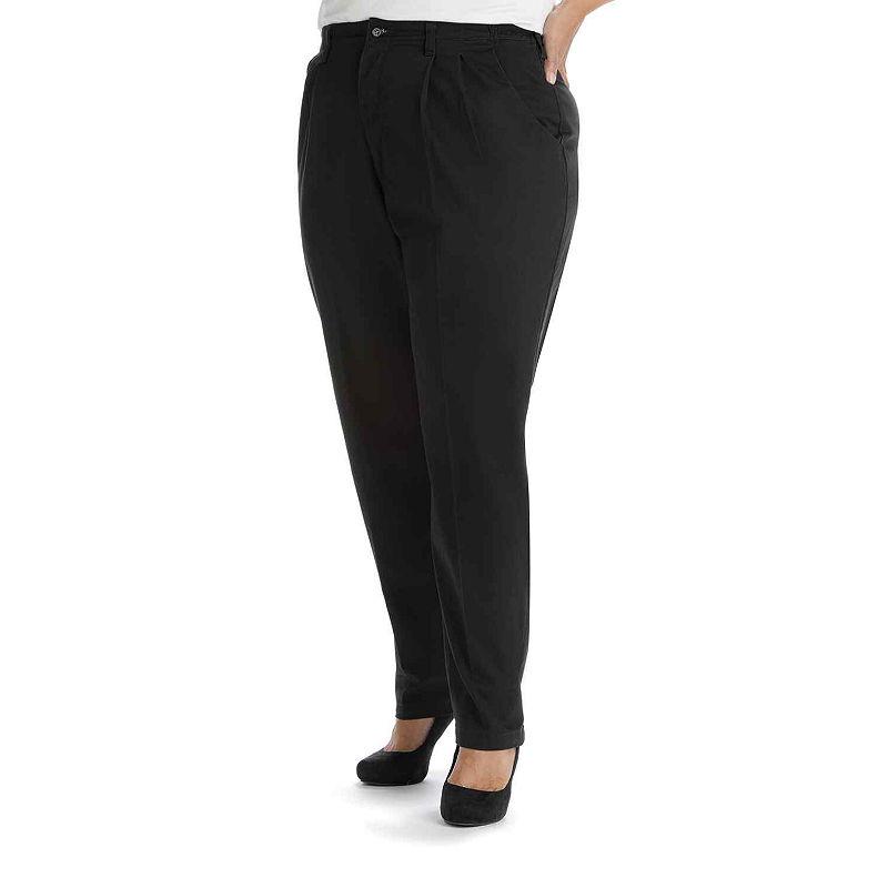 Lee Side-Elastic Twill Pants - Plus plus size,  plus size fashion plus size appare