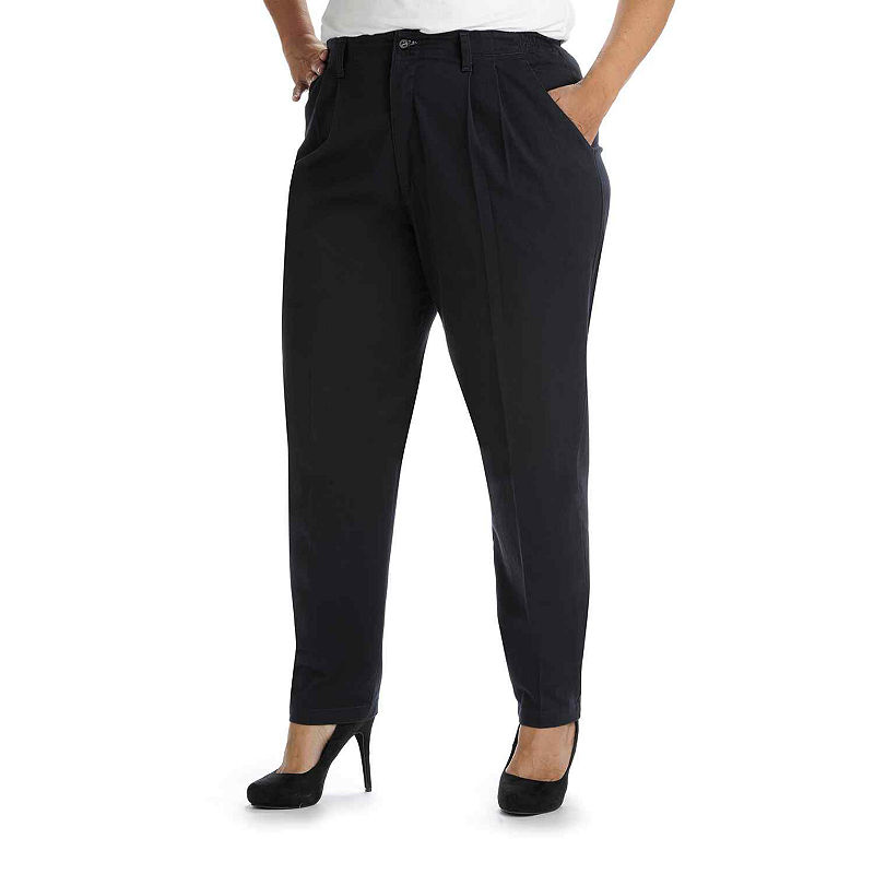 Lee Side-Elastic Twill Pants - Plus plus size,  plus size fashion plus size appare