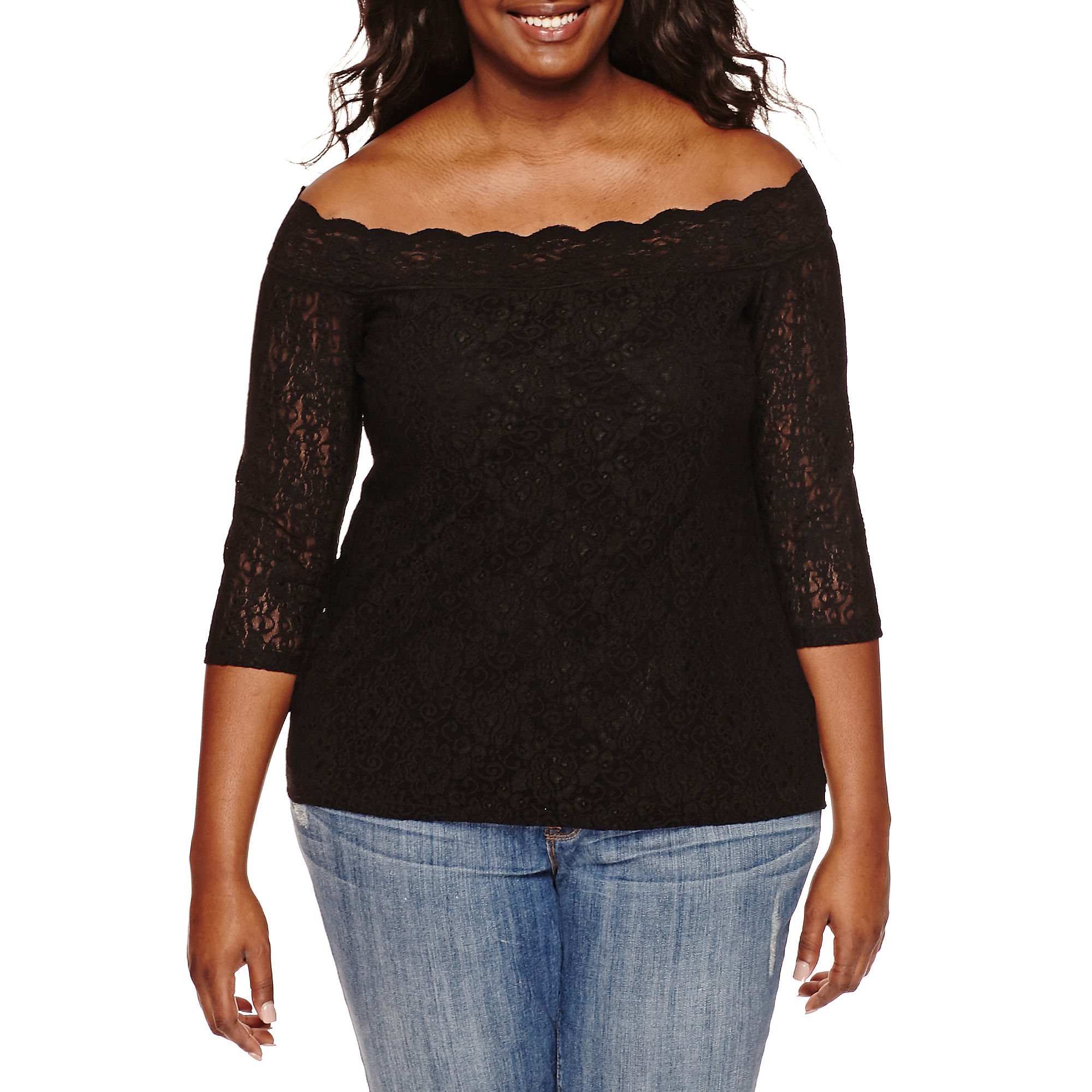 Decree Off-Shoulder Lace Bodycon Top - Juniors Plus plus size,  plus size fashion plus size appare