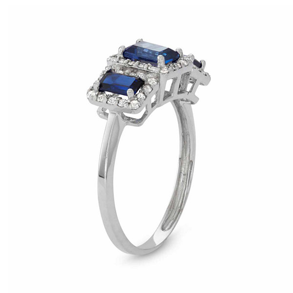Womens 1/3 CT. T.W. Lab Created Blue Sapphire 10K Gold Cocktail Ring