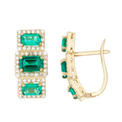 Lab Created Emerald And 5/8 C.T. T.W.  Diamond 10K Yellow Gold Earrings