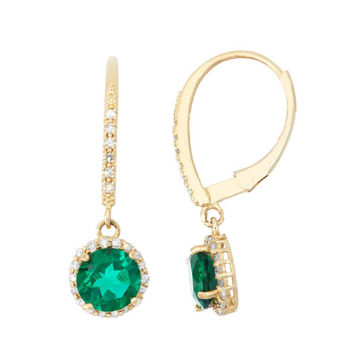 Lab Created Emerald And 1/4C.T. T.W. Diamond 10K Yellow Gold Earrings