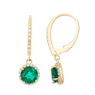 Lab Created Emerald And 1/4 C.T. T.W.  Diamond 10K Yellow Gold Earrings